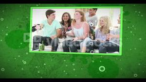 Montage of friends playing video games on cellular background