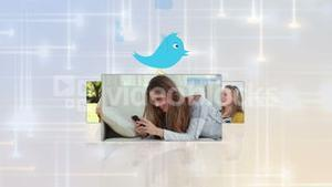 Montage of young people using various media with blue bird