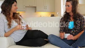 Women sitting on the couch talking
