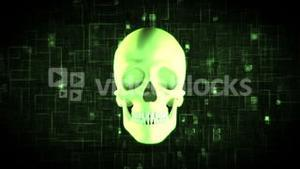 Revolving green skull on moving background