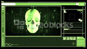 Medical digital interface showing skull
