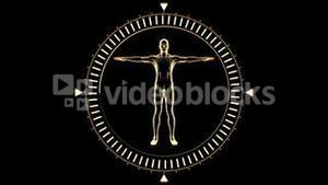 Figure of man revolving in dial circle