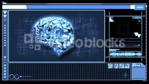Digital interface featuring revolving brain in blue