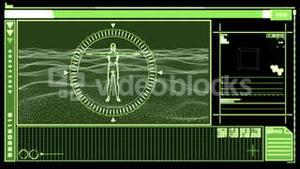 Digital interface showing revolving figure of man