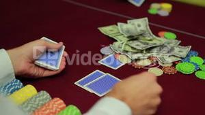 Dealer dealing cards for poker