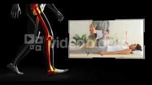 Clips of woman getting physiotherapy