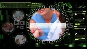 Medical interface showing various clips of doctors with patients