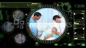 Hand selecting videos of doctors in the hospital