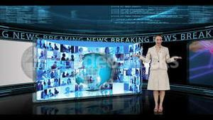 Woman reporting about breaking news
