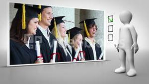 Animated figure walking and ticking a box beside graduation clip