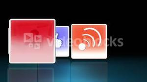 Social media symbols flipping to show clips of people using various multimedia