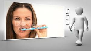 Clip of woman brushing teeth