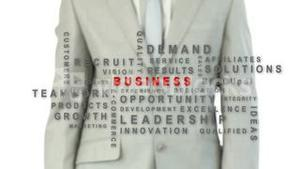 Businessman pressing the business button