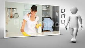 Clip of woman cleaning kitchen