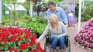 Couple looking at flowers at the garden centre