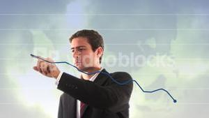 Stock Footage of Businessman showing upward Graph