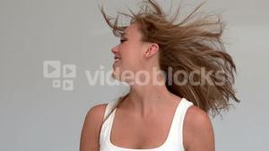 Woman tossing her hair