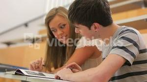 Two students working in team