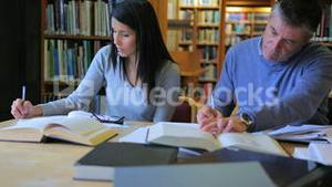 Woman and man studying in the library