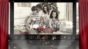 Theater and christmas familys unpacking gifts animation