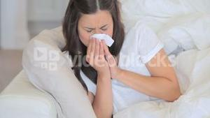 Video of sick woman sneezing
