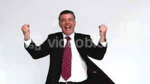 Businessman showing his happiness