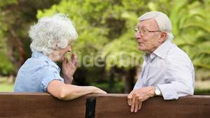Old couple laughing on a bench