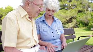 Elderly couple in the park with laptop