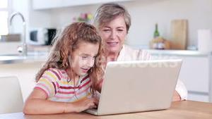 Child using laptop with her grandmother