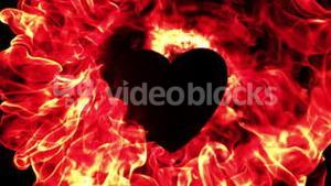 Flame of fire burning around a heart