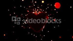 Sparks flying against a heart