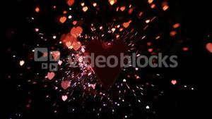 Sparks and confetti flying against heart