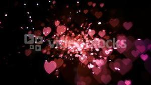 Pink heart confetti and sparks