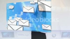 Businesswoman looking at online communication clips