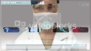 Laboratory worker scrolling through medical digital interface