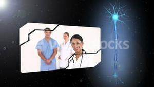 Montage of medical workers with revolving brain introduction