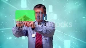 Doctor using futuristic interface with copy space