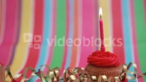 Candle on birthday cupcake blown out