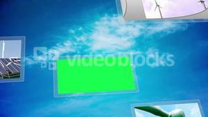 Environment and wind energy montage with copy space