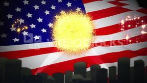 Independence day animation with city skyline