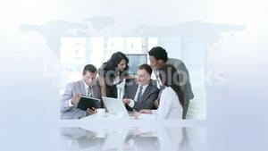 Business montage with copy space
