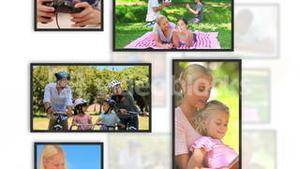 Montage of family clips into frames