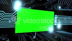 Montage of green screens on a circuit board