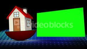 Red model house falling besides a chroma key space