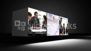 Montage of business people in the office with copy space