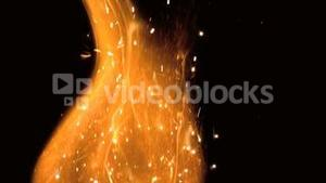 Close up of flame with sparks
