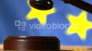 Judge calling order with gavel