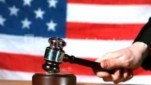 Judge calling order with gavel in american court