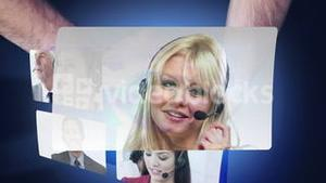 Montage of call centre workers on screens