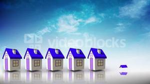 Purple roofed houses appearing in a line